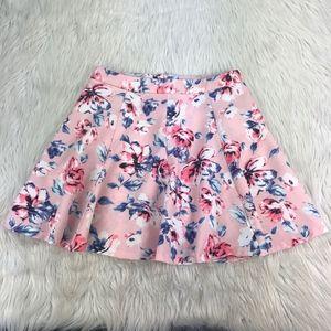 Lush Pink Floral A-line Circle Skater Skirt